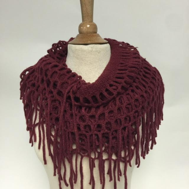 Mr6003 Open Knit Infinity Scarf With Fringe Wholesale Shihreen