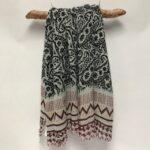 1601 wool blend woven scarf balck-red trim