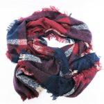 FYS-AY-50 super soft blanket scarf wine-navy